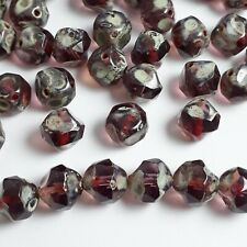 6pcs Amethyst Purple Czech Glass Pinched Rondelle Cathedral Beads 9x8mm - GB835