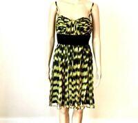 Calvin Klein Womens Dress Size 4 Silk Spaghetti Strap Pleated Tucked Bodice New