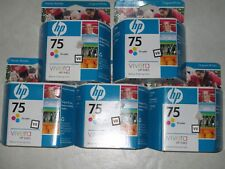 5 Genuine HP 75 Color Inks - CB337WN. Deskjet D4260, Officejet J5780 ,etc.Steal!