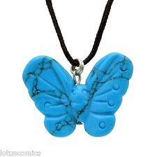 Butterfly Turquoise Howlite Gemstone Pendant Hand Carved Stone Necklace