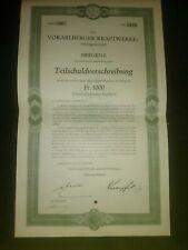 AUSTRIA: VORARLBERGER KRAFTWERKE 1000 SWISS FRANCS 5% BOND, 1930