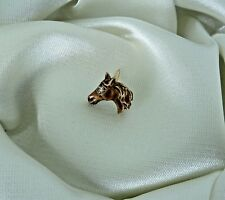 VINTAGE 14K GOLD LACQUERED TIE TAG/ LAPEL HORSE PIN WITH DIAMOND EYE