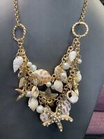 """Vintage White  PearlOcean Starfish Shell Dangle Charm Beach Summer Necklace 18"""""""