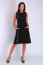 Womens Cocktail Shift Dress With Pockets Sleeveless Boat Neck Sizes 8 - 14 FA419