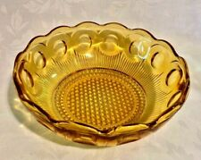 Thumbprint Pressed Amber Glass Bowl Scalloped Rim Dramatic Central Hobnail x2