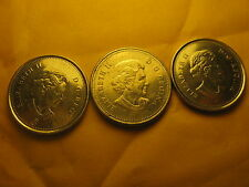 3 VARIETIES CANADA 2006 5 CENT COINS MINT MARK,P MARK & NO P VARIETIES