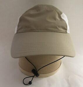 Unisex Safari-Style FISHING HAT w/Back Flap•Tan & White•Adjustable•EUC Unworn