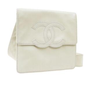 CHANEL Jumbo CC Logos Cross Body Shoulder Bag 5994758 Purse White Leather 31582