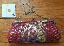 Red Lizard Print Wilson Leather Suede Framed Clutch Purse With Chain Strap  NWT