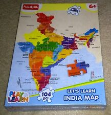 RARE NEW - PLAYKOOL LETS LEARN INDIA MAP FLOOR JIGSAW PUZZLE 2014 INDIA 104 pcs.