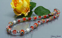 Glass Jewels Silber Kette Halskette Collier Rot  #A026