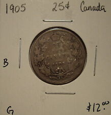 B Canada Edward VII 1905 Silver Twenty Five Cents - G