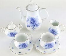 PETITE BLUE ROSES FLOWERS PORCELAIN TEA SET TEAPOT SUGAR BOWL CREAMER 2 TEACUPS