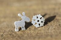 Tiny Snowflake & Reindeer Stud Earrings 925 Sterling Silver Christmas Holiday