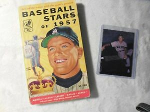 VERY RARE 1957 STARS OF BASEBALL BOOK & PHOTO OF MICKEY MANTLE AUTOGRAPHED