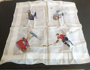 Vintage Designer Hankie Handkerchief Swiss Winter Sports Skier Sled Hockey
