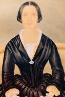 Superb Circa 1860 American School New England Portrait Of A Lady In Black Dress