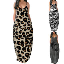 Women Summer Sleeveless V Neck Pockets Leopard Maxi Dress Casual Loose Sundress