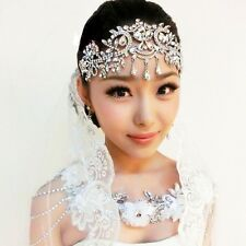Crystal Rhinestone Head Chain Bridal Headpiece Wedding Hair Jewelry Tiara Silver
