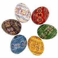 Set of 6 Wooden Ukrainian Easter Eggs