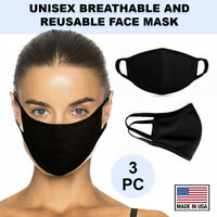 Black Face Cover 3 Pc Cotton Double Layer Washable Reusable Protection USA