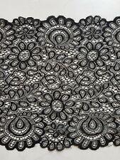 (1,90€/m) 1m Spitzenborte Elastisch Borte Spitze elastisch 22 cm/220 mm schwarz