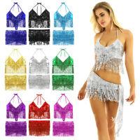 Women Belly Dance Hip Scarf Dancing Sequin Tassels Hip Scarf Wrap Skirts Bra Top