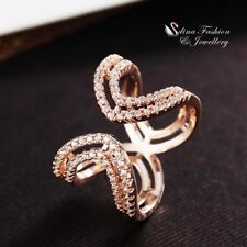 18K Rose Gold Filled Simulated Diamond Curved Band Adjustable Opening Ring