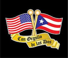 PUERTO RICO &  USA FLAG CAR DECAL STICKER   #273US