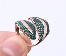 LEAF EMERALD ROSE GOLD COLORED OVER STERLING SILVER RING SIZE 7 #29224