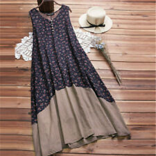 89c02923f549 Women Solid Color Printing Maxi Dress Cotton Summer Beach Casual Long  Sundress