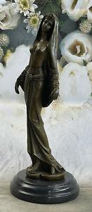 Original Mavchi Arab Girl Dancing Bronze Sculpture Marble Base Figure Sale