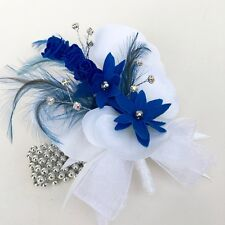 White Orchid Silk Flower Royal Blue Feather Silver Pearled Prom Wrist Corsage
