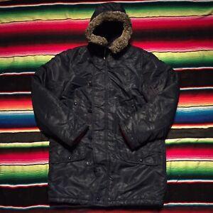 Long oversized winter coat. Blue vintage down parka Parka Sears down feathers