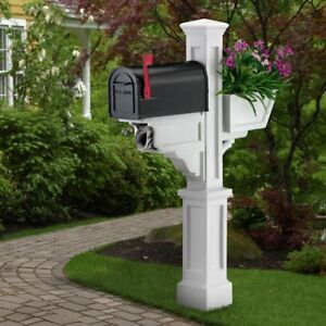 Mailbox Post Plastic Fade Resistant in White with Newspaper Holders/Receptacles