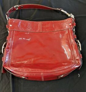 COACH RED BERRY PATENT LEATHER ZIP TOP PURSE & WALLET & WALLET!