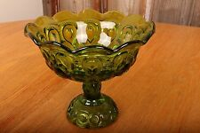 """Vintage LE Smith Emerald Green Glass Compote Moon and Stars Ruffled Edges 8"""""""