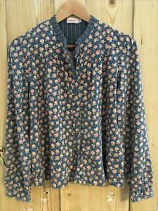 Ladies Cath Kidston Shirt / Top - Size 12 - 100% Cotton - Blue With Floral Print