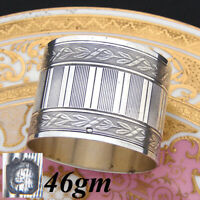 Antique French Sterling Silver Napkin Ring, Frieze Style Laurel Bands, 46gm