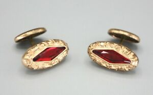 Vintage Rolled Gold Victorian Repousse Red Glass Button Back Cufflinks