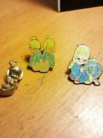 Vintage Lot 3 Precious Moments Figurine Lapel Pin 70s 80s Twin World Heart Angel