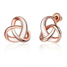 Women's Cute Ear Stud Earrings 18k Rose Gold Filled Unique Fashion Jewelry