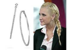 """Get The Look! Stunning Fashion Jewelry 3"""" Silver Pave Set Crystal Hoop Earrings!"""