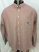 Men's Cinch Long Sleeve Button Front Shirt XL Red Check