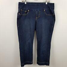 Jag Jeans Pull On Classic Fit Capri Women's Dark Wash Blue Jeans Size 14W 14