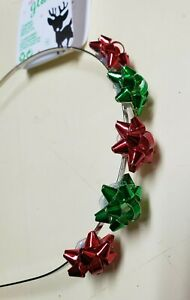 Claire's Red/Green Christmas Gift Bows Metal Headband One Size