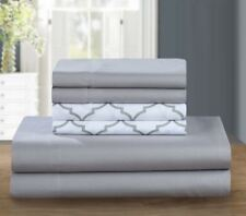 Chic Home Design Illusion 6 Piece Super Soft Microfiber KING Sheet Set - Gray
