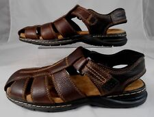Dr Scholls GASTON Memory Fit Foam Mens Strappy Sandals Sz 11 M Leather Brown