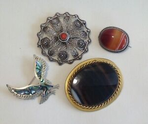 Antique Vintage, Silver Bird / Indian Coral Brooch Jewellery Scottish Agate.