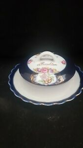 MEGA RARE EARLY PORCELAIN BUTTER DISH -A PRESENT FROM BRIGHTON {THUNGIA GERMANY}